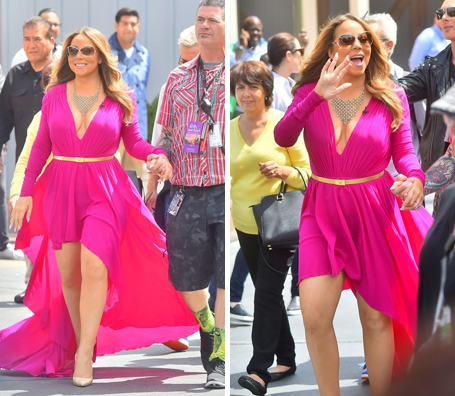 What Colors Go With Hot Pink mariah carey steps out in show-stopping hot pink dress | the
