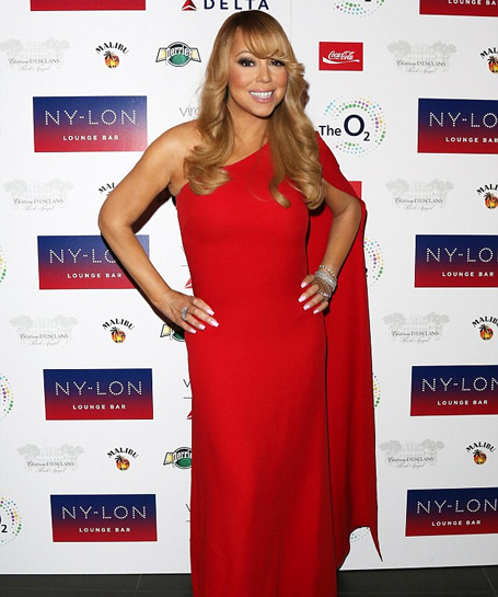Mariah Carey dons single-sleeved red gown | The Mariah Carey Archives